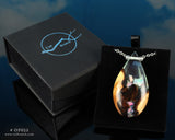 resin and wood teardrop pendant in a gift box, aurora opal jewelry