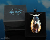 aurora opal resin and wood teardrop necklace by cut branch in gift box