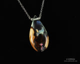 closeup of phantom aurora opal teardrop pendant necklace