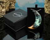 cut branch resin and wood phantom moon pendant, glow in the dark, in gift box