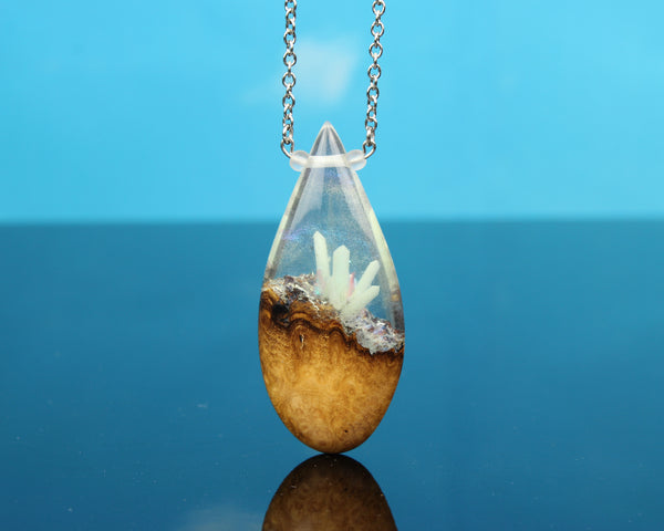 glowing crystal teardrop pendant, fantasy larping necklace