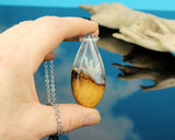 resin and wood teardrop necklace, glow in the dark pendant