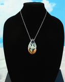 Glowing Sci-Fi Teardrop Pendant, unique statement necklace.