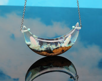 large statement moon pendant, glow in the dark jewelry by cut branch
