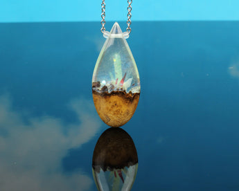glowing crystal cosplay jewelry, resin and wood necklace