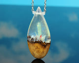 wood and resin teardrop necklace pendant, glow in the dark crystal