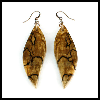 Spalted Maple Wood Dangle Earrings, handmade reclaimed wood earrings.
