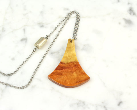 ginkgo leaf wood pendant on long boho style chain