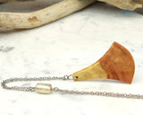 Ginkgo Leaf Wood Pendant, Long asymmetrically beaded Necklace