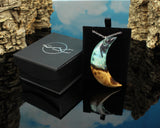 cut branch moon pendant necklace in a gift box