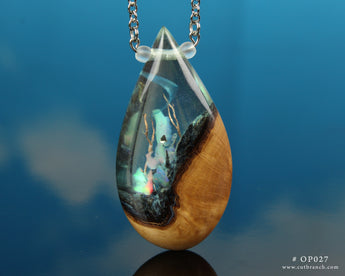 opal phantom necklace, resin and wood teardrop pendant