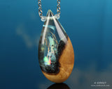 resin and wood teardrop pendant handmade in USA by cut branch jewelry