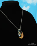 teardrop pendant, resin and wood necklace on 18 inch chain