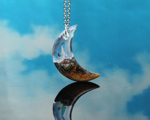 moon necklace, resin wood jewelry, cut branch