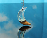 crystal phantom moon necklace, handmade resin and wood jewelry
