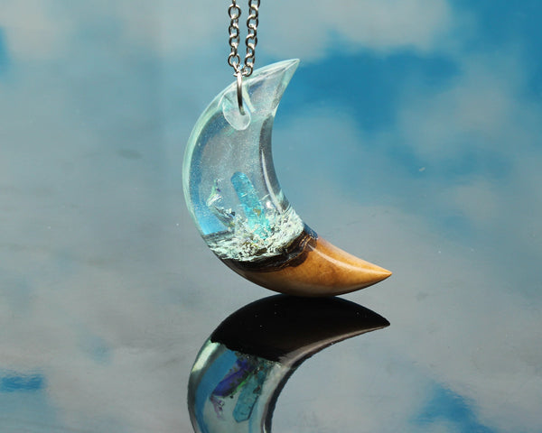 Phantom crystal resin moon necklace, stainless steel chain, handmade jewelry