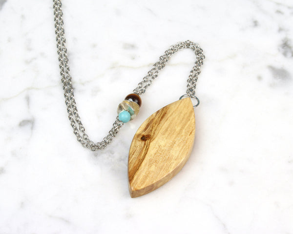 boho style wood necklace, asymmetrical beaded chain