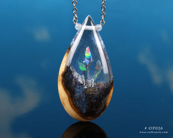 Rainbow Crystal Teardrop Pendant, hand-made resin and wood necklace.