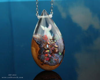 teardrop terrarium resin and wood necklace, fantasy jewelry