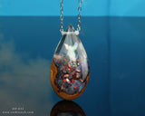 Opal Resin Wood Teardrop Necklace, hand-made aurora opal crystal fantasy pendant.