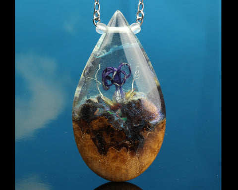 resin and wood terrarium necklace, magical world jewelry