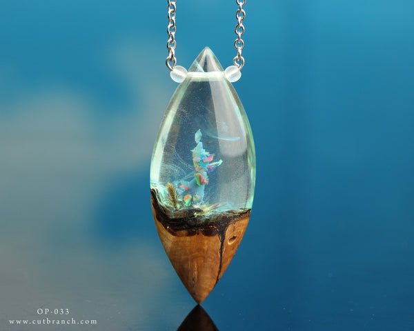 rainbow aurora opal crystal terrarium pendant, cut branch resin and wood necklace