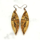 spalted maple wood earrings, cut branch