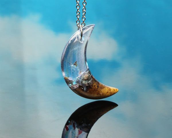 resin and wood moon pendant necklace, crystal resin moon necklace