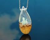 glow in the dark resin and wood handmade teardrop pendant