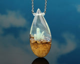 resin and wood teardrop necklace, glow in the dark crystals