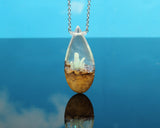 glowing crystal teardrop pendant, fantasy jewelry, cosplay gear