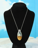 Glow in the Dark Crystal Terrarium Pendant, handmade wood & resin necklace.