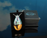 handmade resin and wood teardrop pendant in gift box by cut branch