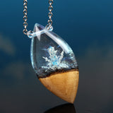 Blue Crystal Phantom Resin & Wood Pendant, hand-carved jewelry.