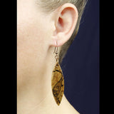 lens shape wood earrings, maple wood pattern