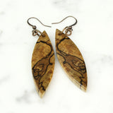spalted maple wood, wood earrings cut branch