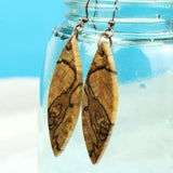 Spalted Wood Dangle Earrings, handmade reclaimed maple wood earrings.