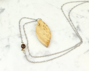 bohemian wood jewelry necklace, reclaimed wood