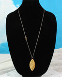 Japanese Maple Wood Pendant, Long asymmetrical beaded Necklace