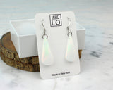 short teardrop white aurora opal dangle earrings in display box