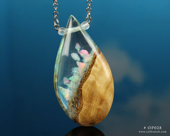 White Aurora Opal Teardrop Pendant, hand-made resin and wood necklace.