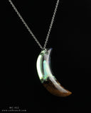 White Aurora Opal Moon, Resin and Wood Terrarium Necklace.