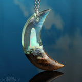 Opal moon crescent pendant necklace resin and wood jewelry by cut branch