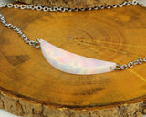 crescent moon jewelry, opal moon necklace