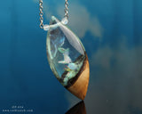 wood and resin necklace pendant by cut branch, Bronx NY