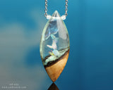 White Aurora Opal Crystal Terrarium pendant, wood and resin necklace.