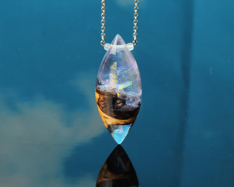 Magical crystal terrarium pendant necklace