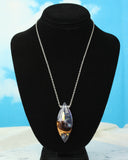 Magical Crystal Phantom Pendant, resin and wood fantasy necklace