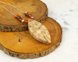 long chain boho wood necklace