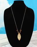 Japanese Maple Wood Pendant, Long beaded chain Necklace